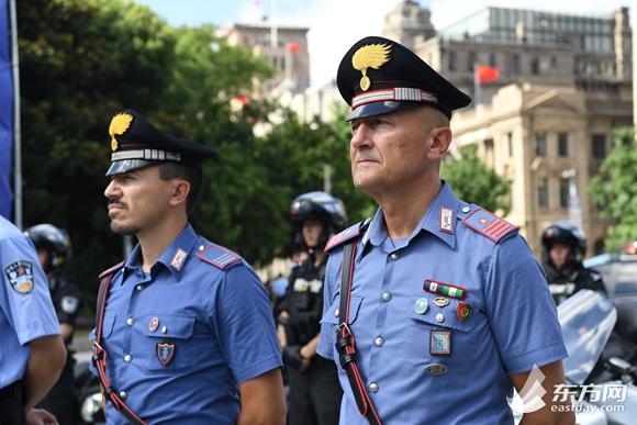 Italian police patrol around the city