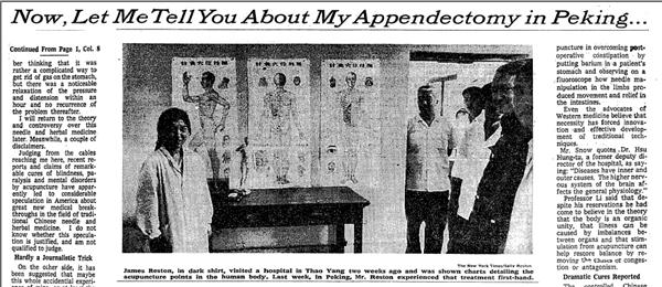 Resultado de imagem para acupuncture history James Reston
